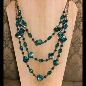 Blue shell and faceted glass bead necklace